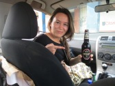 Kelly enjoying a stout sitting shotgun