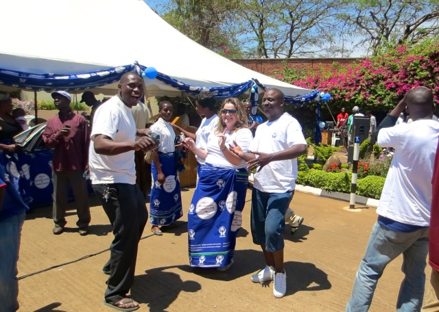 Dancing at the Open Day with members of the SACCO