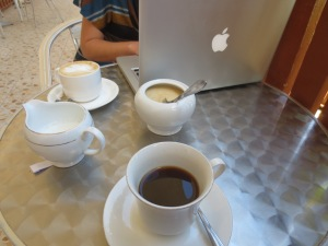 Enjoying the WiFi and coffee at the Mzuzu Coffee Den back in October