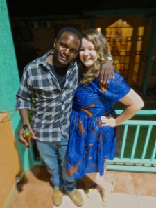 Gift and I (in my custom-made-in-Malawi dress) at my company Christmas Party in December. One of the guys who definitely thinks I'm wife material